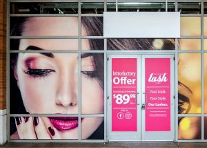 Temporary Signs outdoor storefront window vinyl graphics custom 300x214